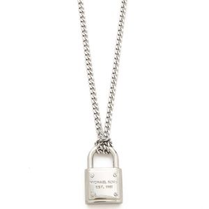 Michael Kors Silver Chunky Padlock Necklace NEW